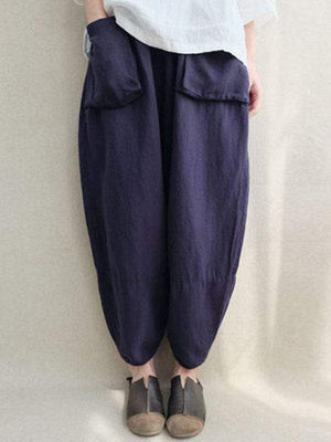 wiccous.com Plus Size Bottoms Dark blue / L Plus size cotton linen cropped trousers