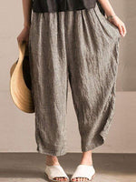 wiccous.com Plus Size Bottoms Coffee / L Large size linen plaid wide leg pants