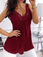 wiccous.com Tanks Wine Red / S Chiffon Lace V-neck Camisole