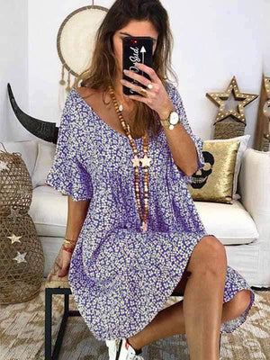 wiccous.com Plus Size Dress Purple / S Short Sleeve Printed Dress