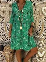 wiccous.com Plus Size Dress Green / L Plus Size Casual Print Dress