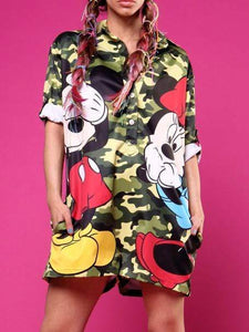 camouflage+Mickey Printing Jumpsuits