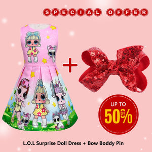 L.O.L Surprise! Cartoon Pattern Design Sleeveless Dress with Bow Boddy Pin