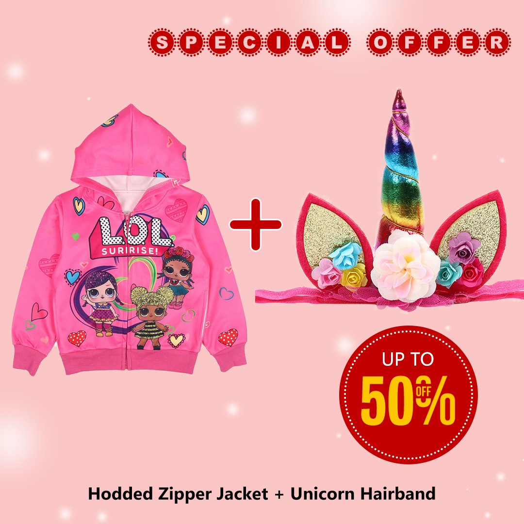 Girls L.O.L Surprise Hooded Zipper Jacket with Unicorn Hairband