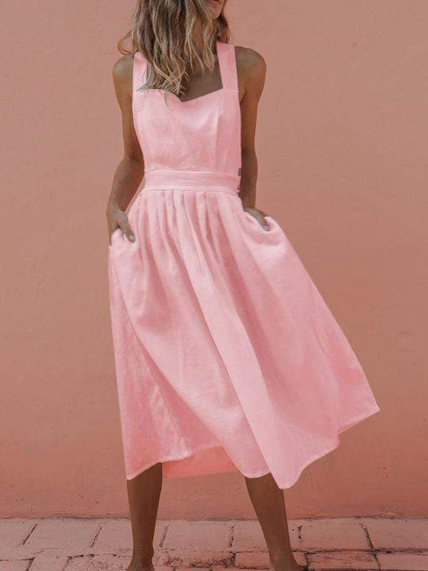 wiccous.com Mini Dress Pink / S Sleeveless Button Pleated Dress