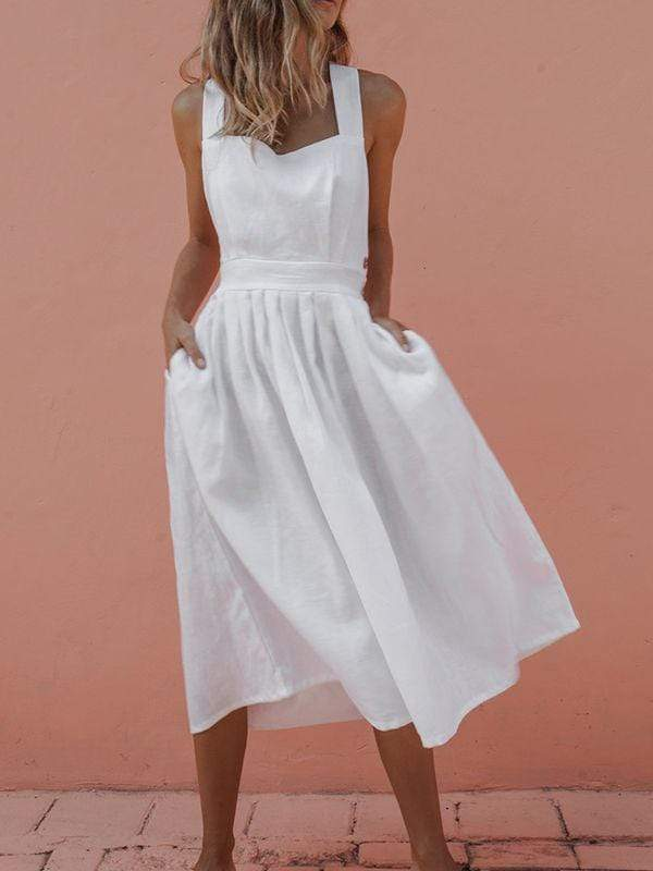 wiccous.com Mini Dress White / S Sleeveless Button Pleated Dress