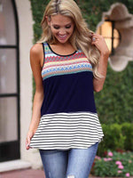 wiccous.com Tanks Blue / S Printed Striped Stitching Vest