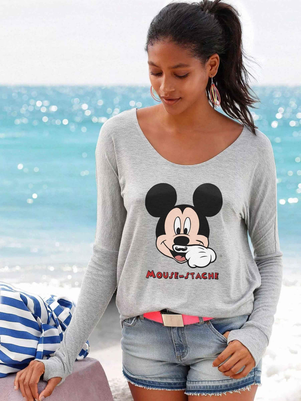 Mickey Mouse Backless Long-Sleeved Shirt