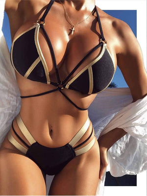 Bronzing Cloth Stitching Bikini Set