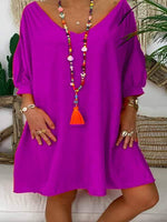 wiccous.com Plus Size Dress Purple / L Plus size solid color cropped sleeve dress