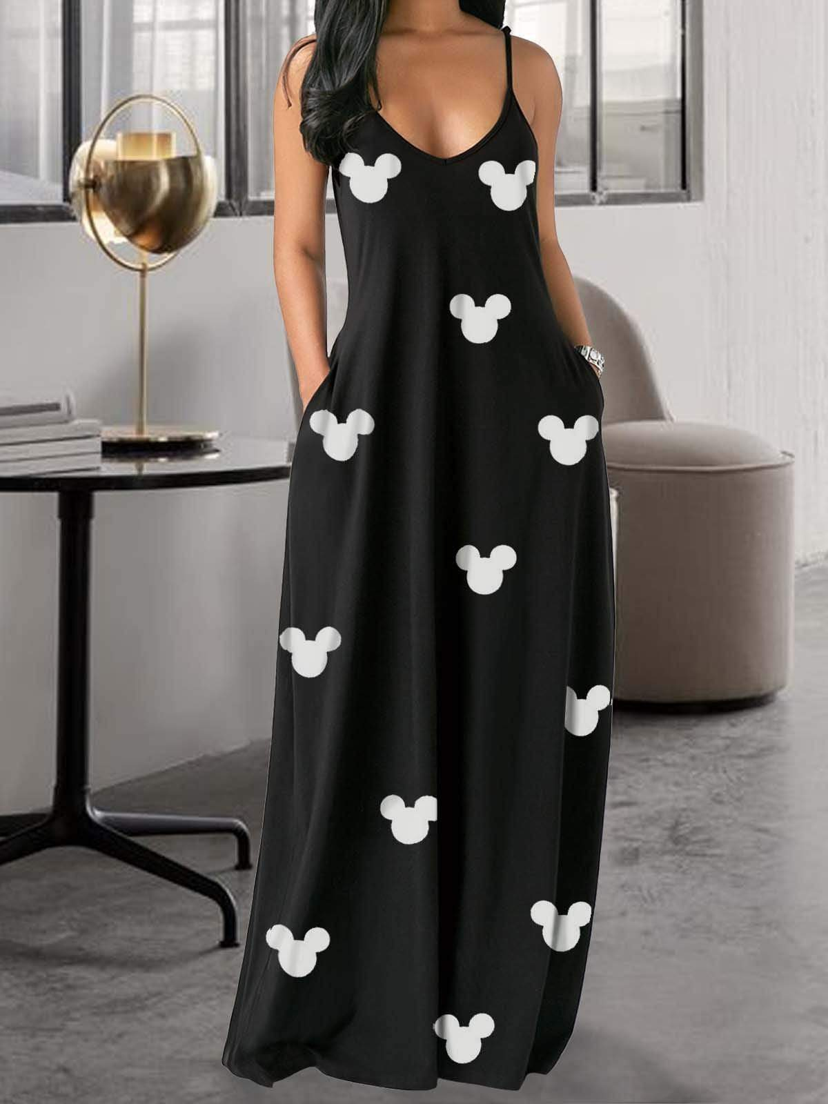 Mickey Mouse Condole Belt Maxi Dress