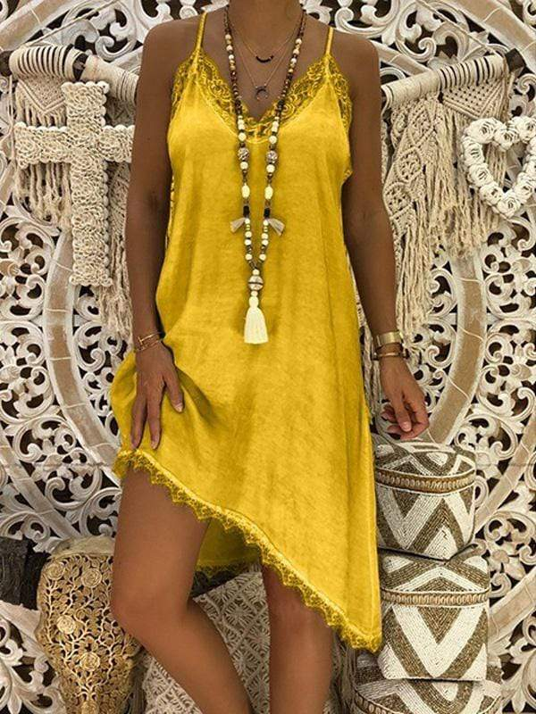 wiccous.com Plus Size Dress Yellow / L Plus size Lace Strap Dress