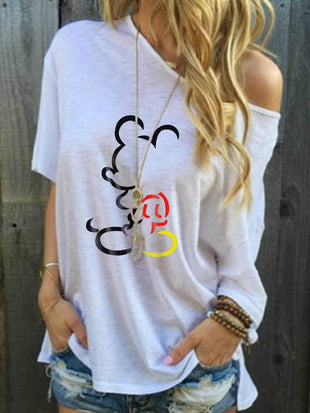 Mickey Mouse Off-The-Shoulder Printing T-shirt