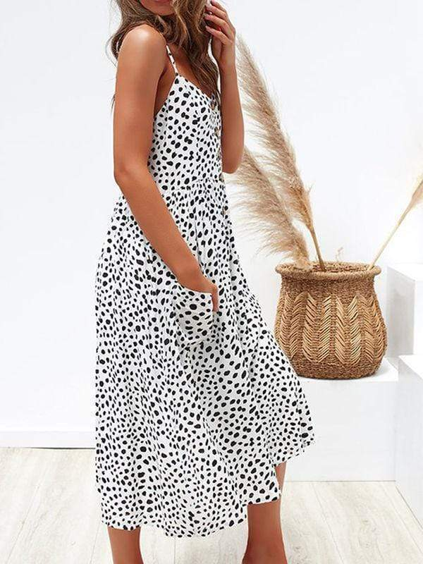 wiccous.com maxi dress Leopard print / S Straps Button Cottage Hill Dress With Pocket