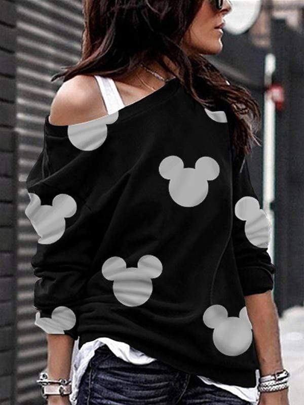 Mickey Mouse Off-The-Shoulder Long-Sleeved T-shirt