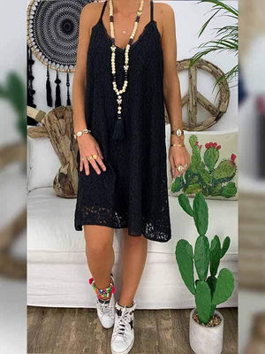 wiccous.com Plus Size Dress Black / L Plus size V-neck sling lace dress