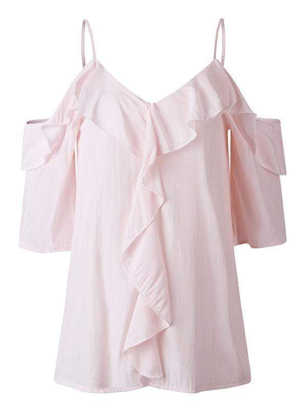 wiccous.com Blouses Pink / S V-Neck Strap Ruffle Blouses