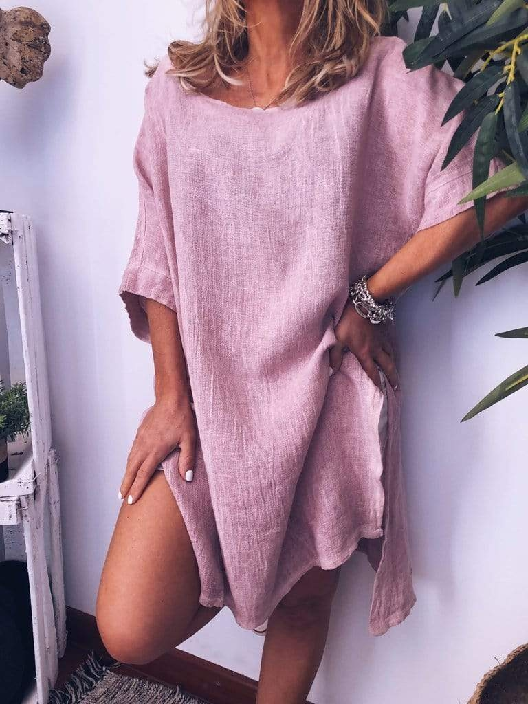 wiccous.com Plus Size Dress Pink / L Plus Size Cotton Linen Solid Color Dress