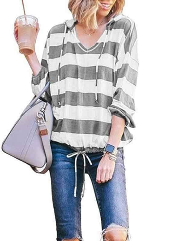 wiccous.com Plus Size Tops Grey / S Loose V-Neck Long Sleeve Striped Hooded Top