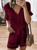 wiccous.com Plus Size Bottoms Wine Red / L Plus size lace stitching jumpsuit