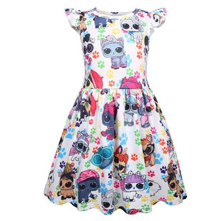 L.O.L Surprise! Pets Cartoon Pattern Print Girls Dress