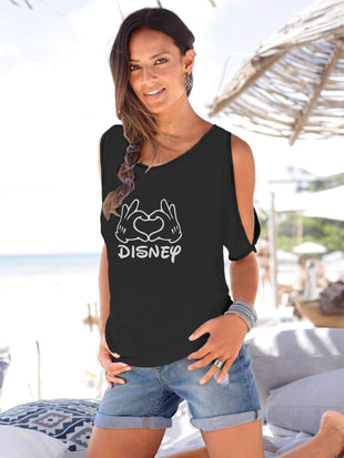Mickey Mouse Sleeve Hollow Out T-shirt
