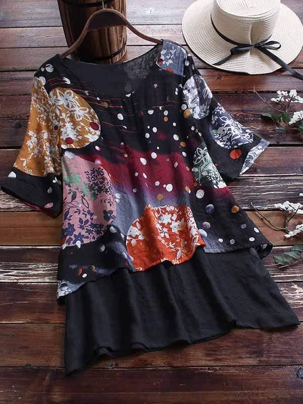 wiccous.com Plus Size Tops Black 1 / L Plus Size Printed Fake Two Piece Short Sleeve Shirt