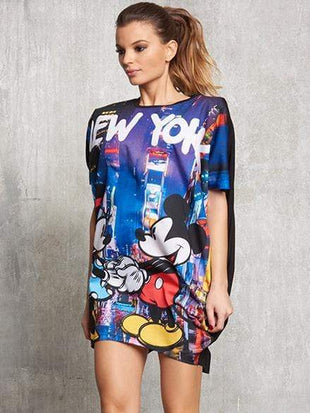 Mickey Mouse Printing Loose Dress