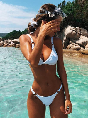 Split Pure Color Triangle Bikini Set