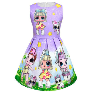 Big L.O.L Surprise! Cartoon Pattern Print Dress for Girls