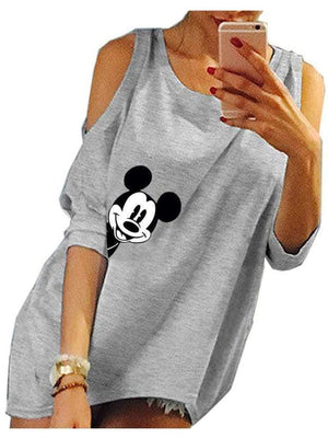 Mickey Mouse Hollow Out Half Sleeve Long T-shirt