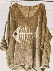 wiccous.com Plus Size Tops Khaki / S Fishbone Print Loose Comfort Sweater