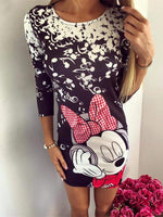 Mickey Mouse Printing Sexy Package Hip Dress