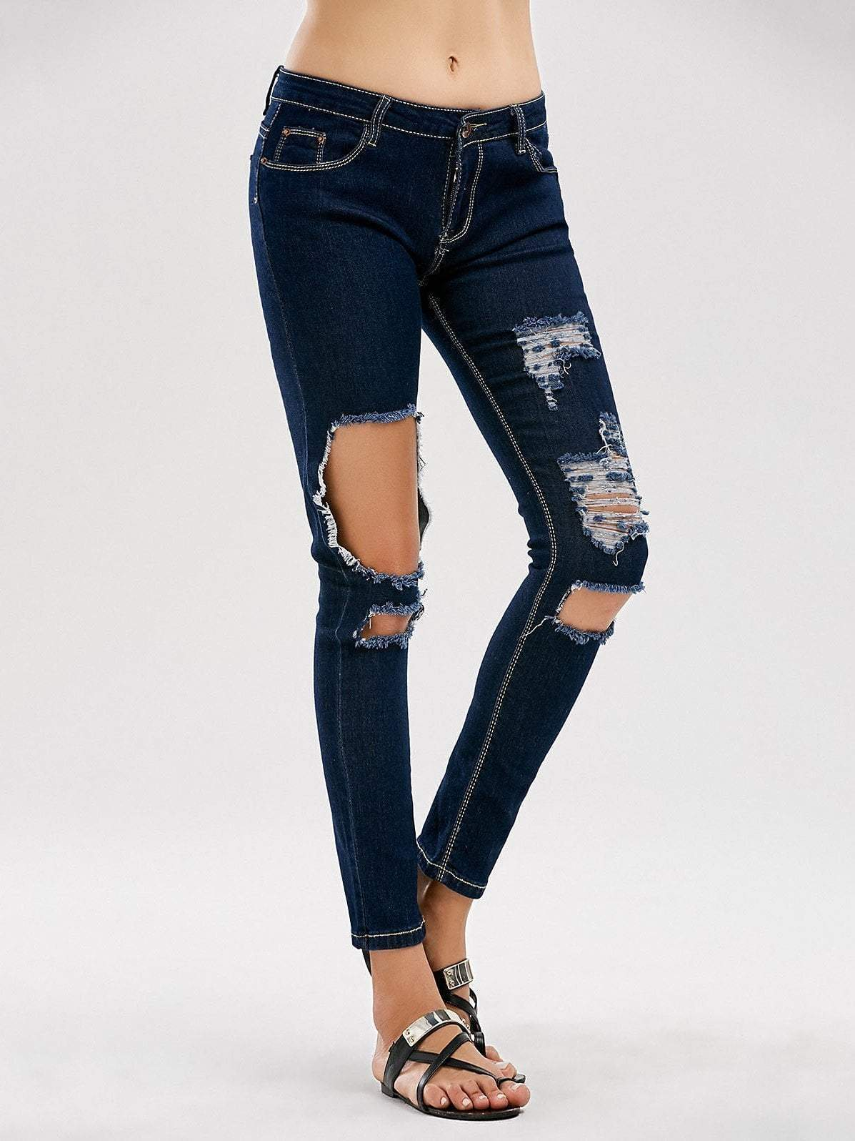 Lace Up Hole Scratch Jeans