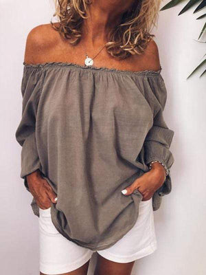 wiccous.com Plus Size Tops Taupe / L Plus Size Off-Shoulder Tops