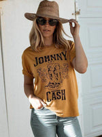 Johnny Cash Floral Boots T-shirts