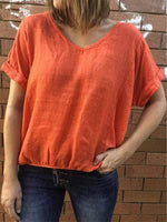 wiccous.com Plus Size Tops Orange / S Solid Color Casual Short-Sleeved Top