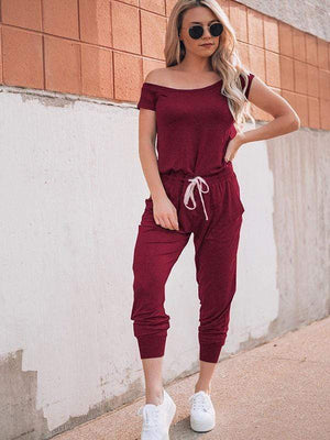 wiccous.com Jumpsuits Wine Red / S Cold Shoulder Jumpisuit With Pocketed