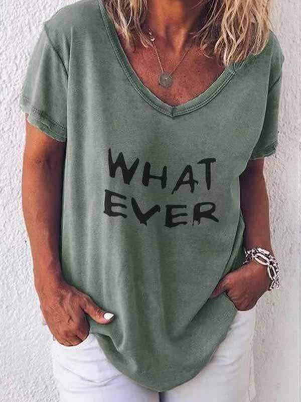 wiccous.com Plus Size Tops Green / S WHAT EVER Letter Print T-Shirt