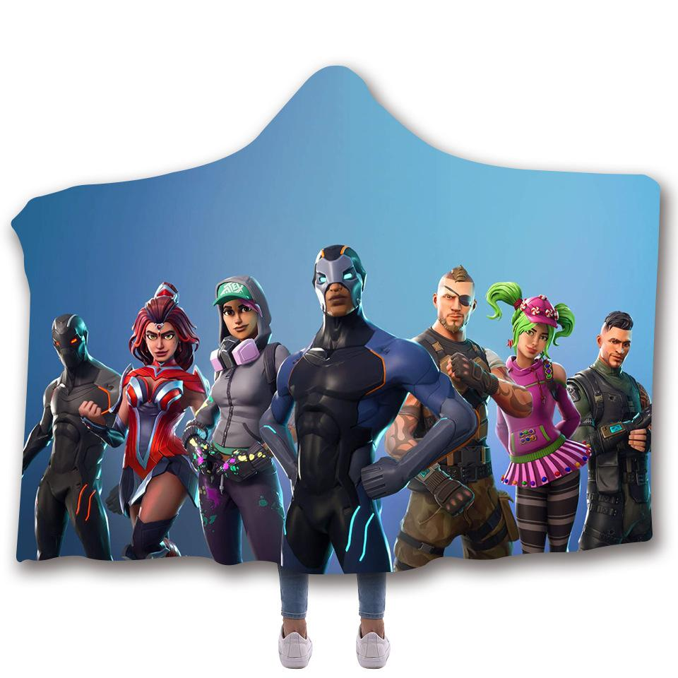 Fortnite 3D Digital Printed Hooded And Thickened Double Cape Blanket For Kids and Adults