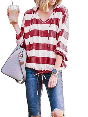 wiccous.com Plus Size Tops Red / S Loose V-Neck Long Sleeve Striped Hooded Top