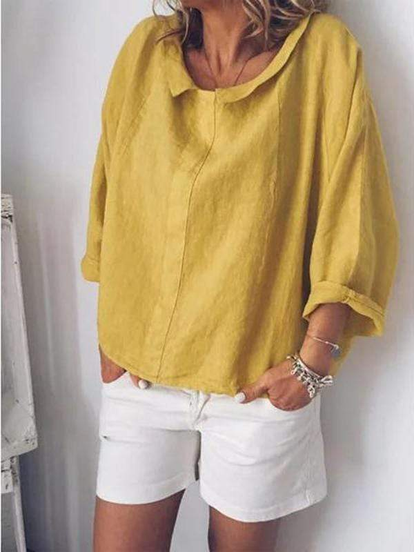 wiccous.com Plus Size Tops Yellow / L Plus Size Linen Lapel Long Sleeve Shirt
