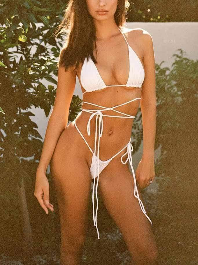 Solid Color Lace Up Bikini Set