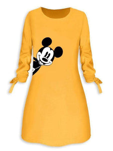 Mickey Mouse Three Quarter Sleeve Bandage Dress
