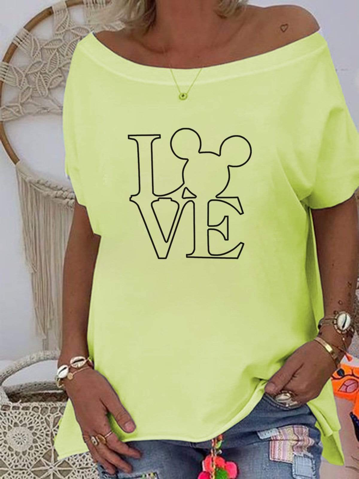 Mickey Mouse &LOVE Off-The-Shoulder T-shirt TOP