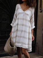 wiccous.com Plus Size Dress White / L Plus size striped long sleeve V-neck dress