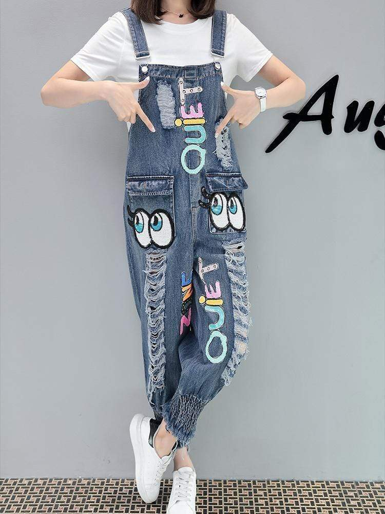 Embroider  Hole   Straps  Jeans