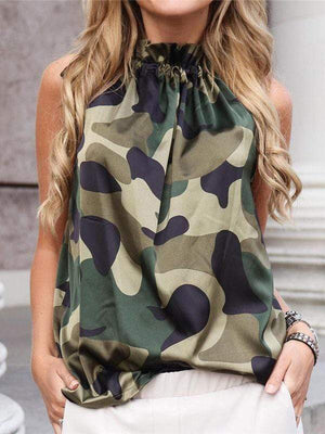 wiccous.com Tanks CAMOUFLAGE / S Floral Printed Cold Shoulder Tanks
