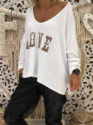 wiccous.com T-Shirts,Plus Size Tops White / S Women's LOVE Print Long Sleeve Tops