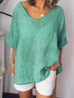 wiccous.com T-Shirts Green / S Loose Short Sleeve Linen T-Shirts